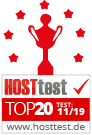 In den Top 20 der Hosttest Awards 2019