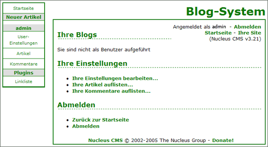Screenshot: Blog-Administration