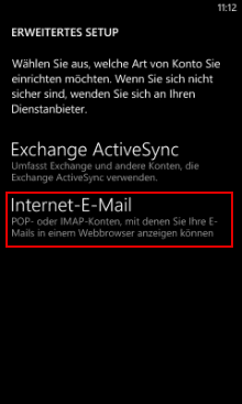 Windows Phone 8: Kontoart wählen