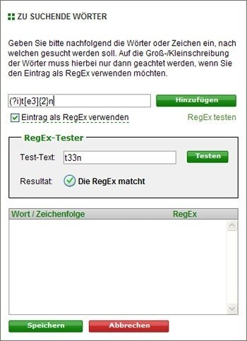 Screenshot RegEx-Tester