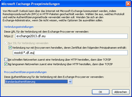 Screenshot: Managed Exchange-Proxyeinstellungen