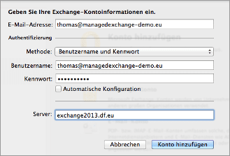 Exchange-Kontoinformationen eingeben.