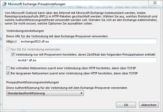 Screenshot: ManagedExchange Proxyeinstellungen