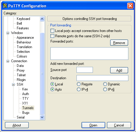 PuTTY Configuration: Connection, SSH, Tunnnels